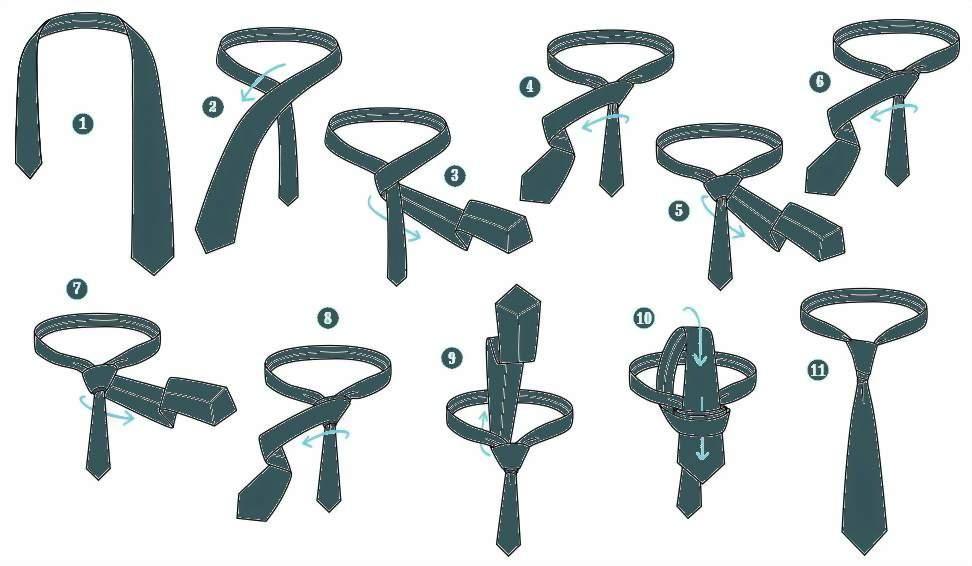 Инструкция по завязыванию галстука узлом Ван Вейк.