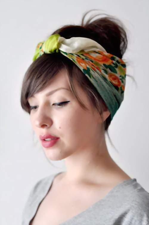 Завязывание шарфа с узлом на голове