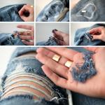 делаем дырки на джинсах