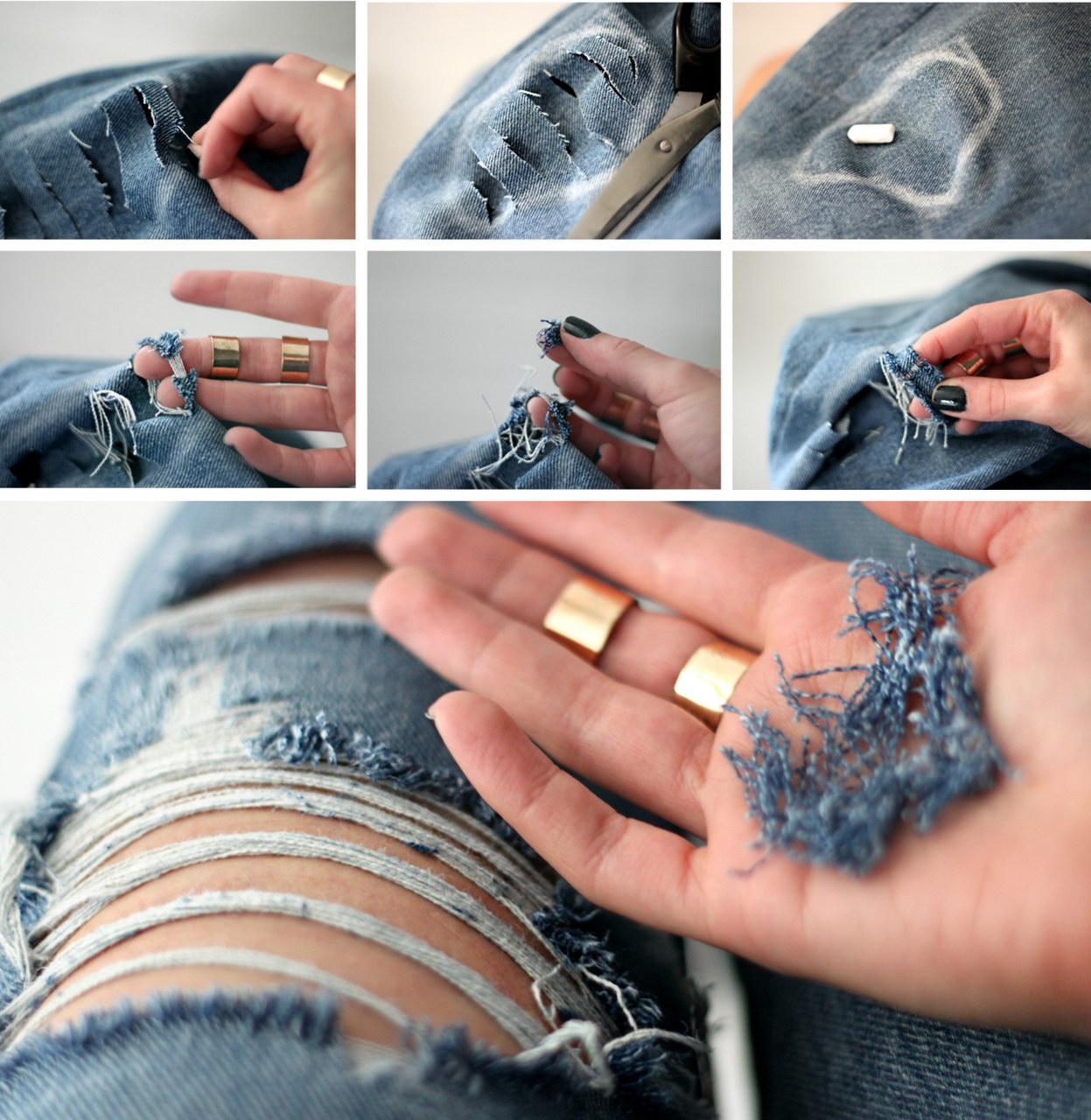 Делаем дырки на джинсах.