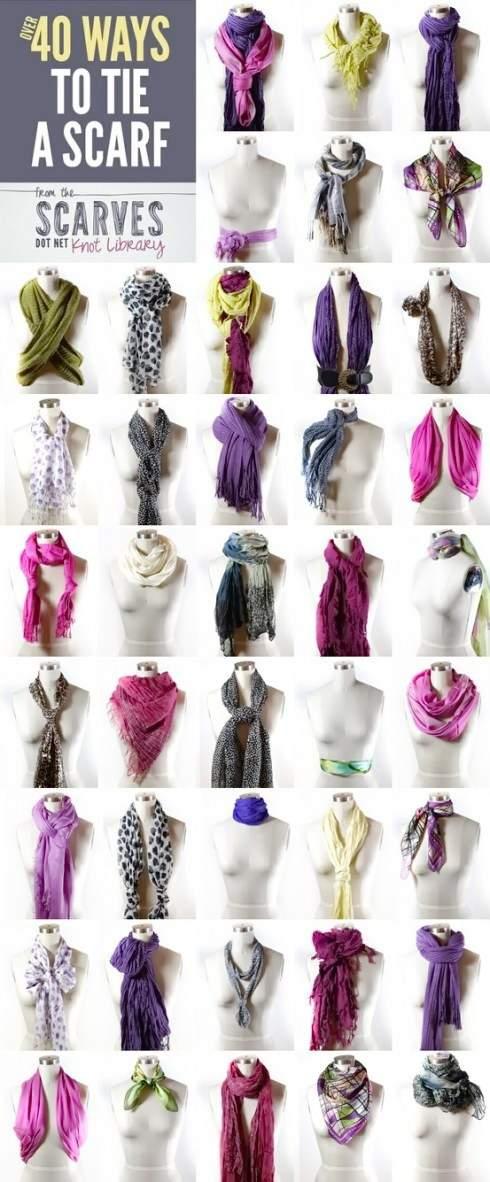 40 способов завязать платок или шарф на шее