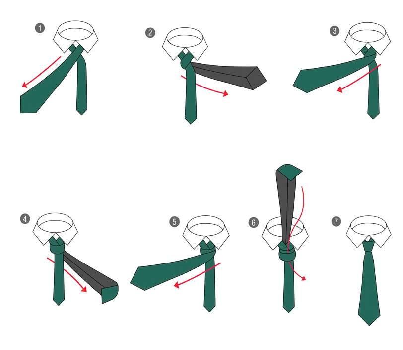 Схема как завязать галстук узлом Виктория