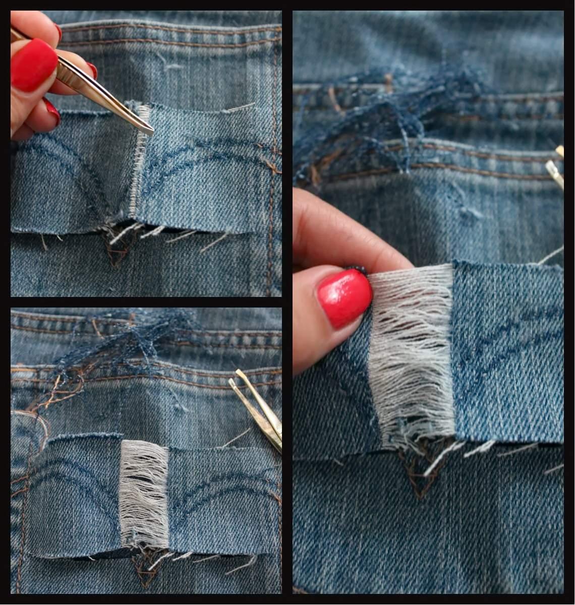 Как самой сделать рваные джинсы.