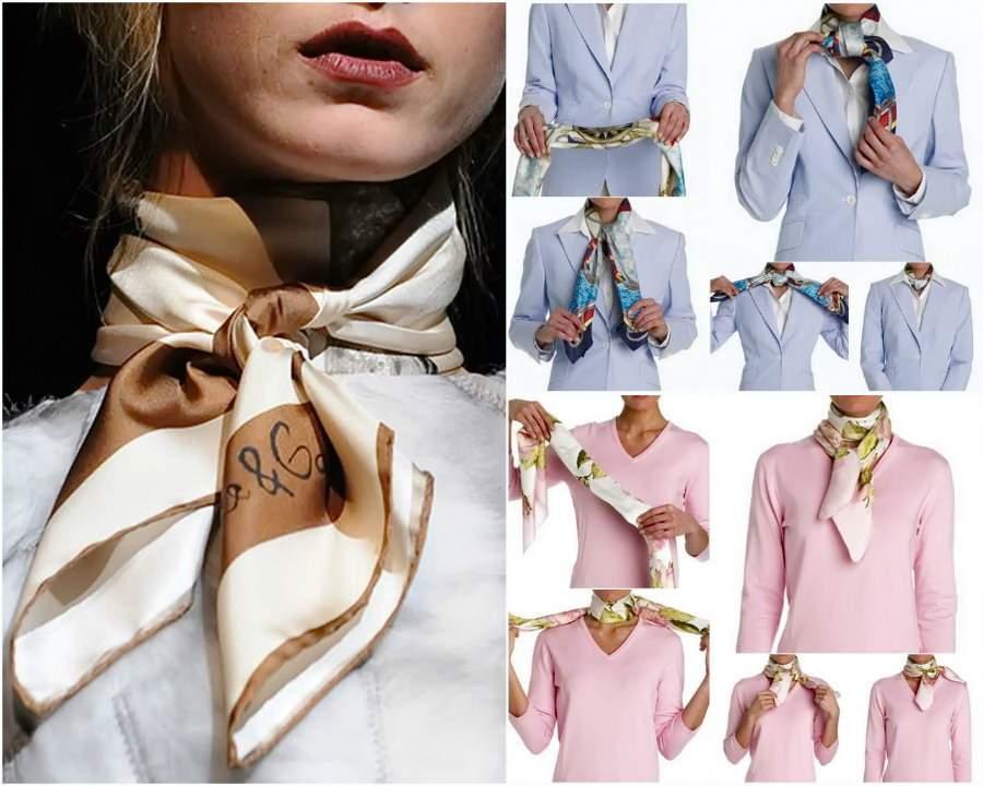 Завязывать красиво шелковый шарф
