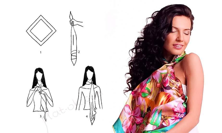 как завязывать шейный платок - 1 способ