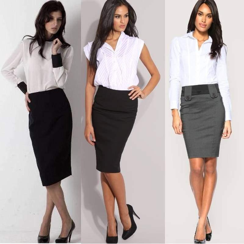 деловой костюм для женщин с блузкой и юбкой.